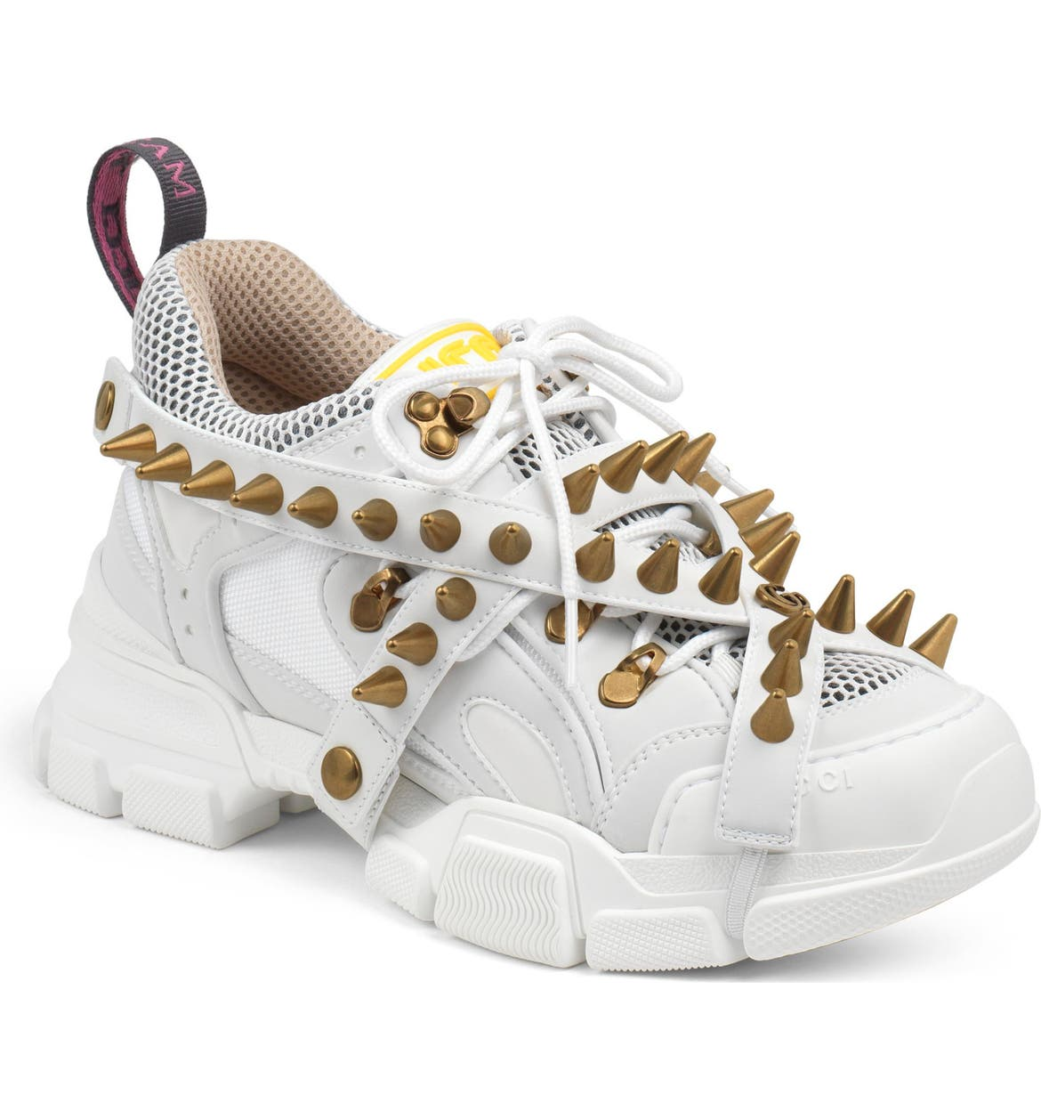 GUCCI Flashtrek Spike Sneaker, Main, color, WHITE/ GOLD