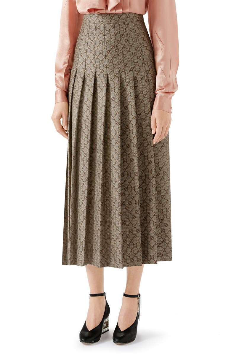 1907c2108a0204 Pleated GG Canvas Skirt, Main, color, NATURAL WHITE/ BROWN