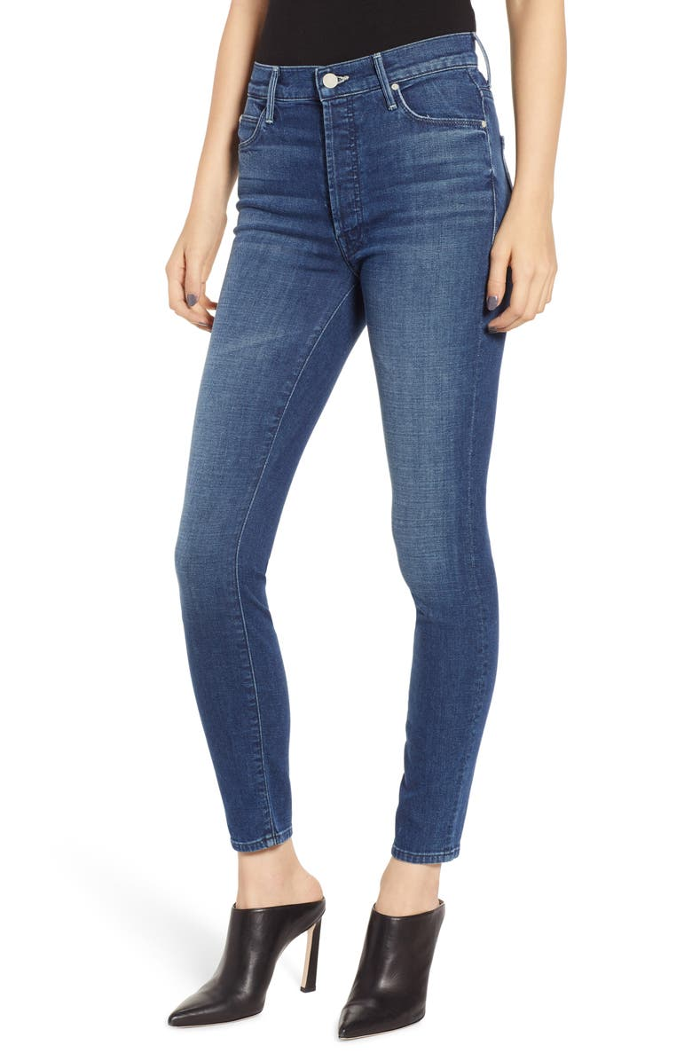 MOTHER The Stunner Frayed Ankle Skinny Jeans, Main, color, 401