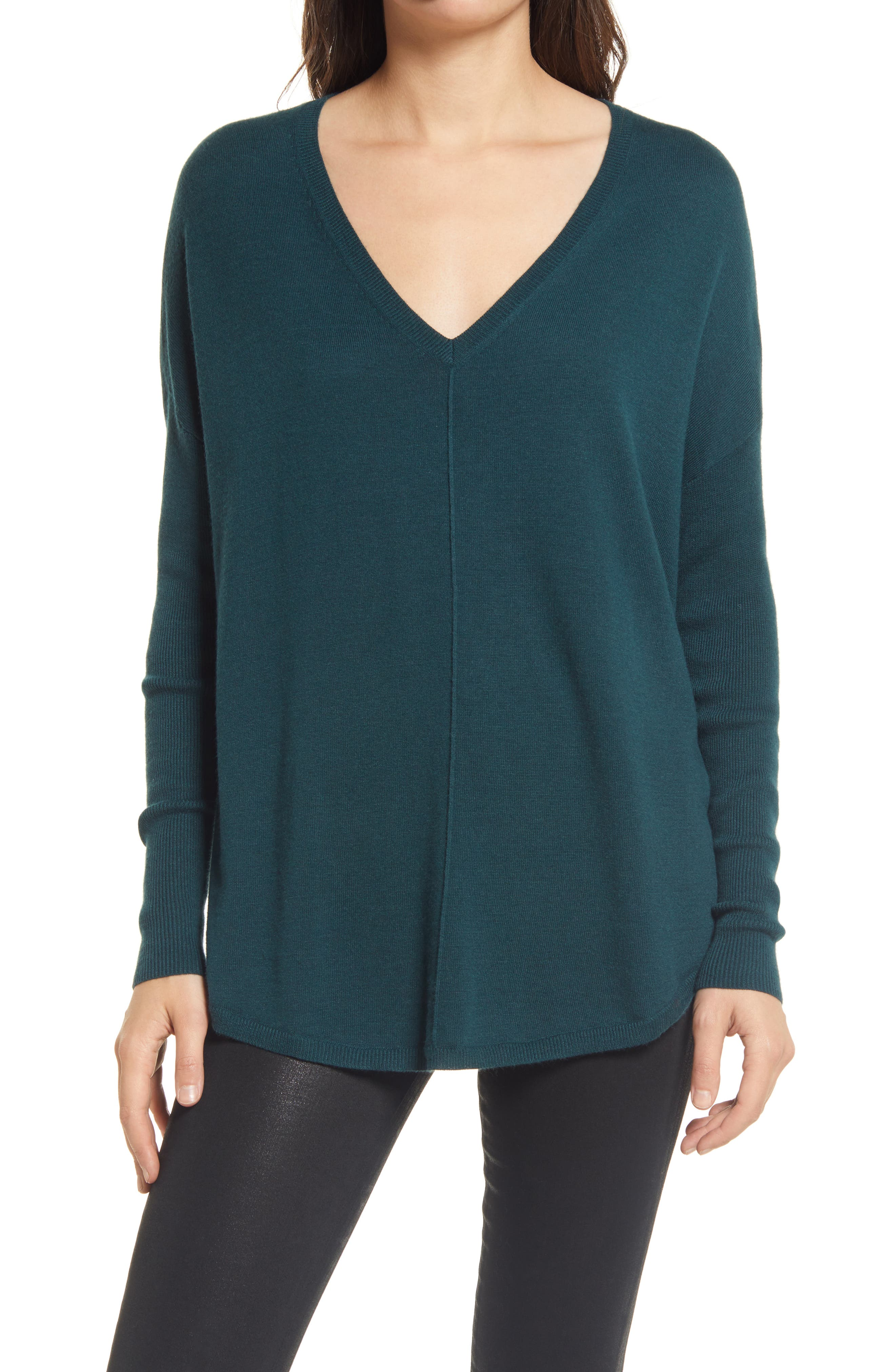 A relaxed silhouette lends everyday ease to a cashmere-kissed sweater styled with fitted rib-knit sleeves and an elegant V-neckline. Style Name: Chelsea28 Everyday V-Neck Sweater. Style Number: 1031893. Available in stores.