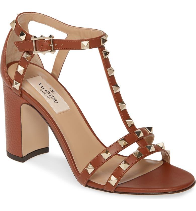 VALENTINO GARAVANI Rockstud Block Heel Sandal, Main, color, COGNAC LEATHER