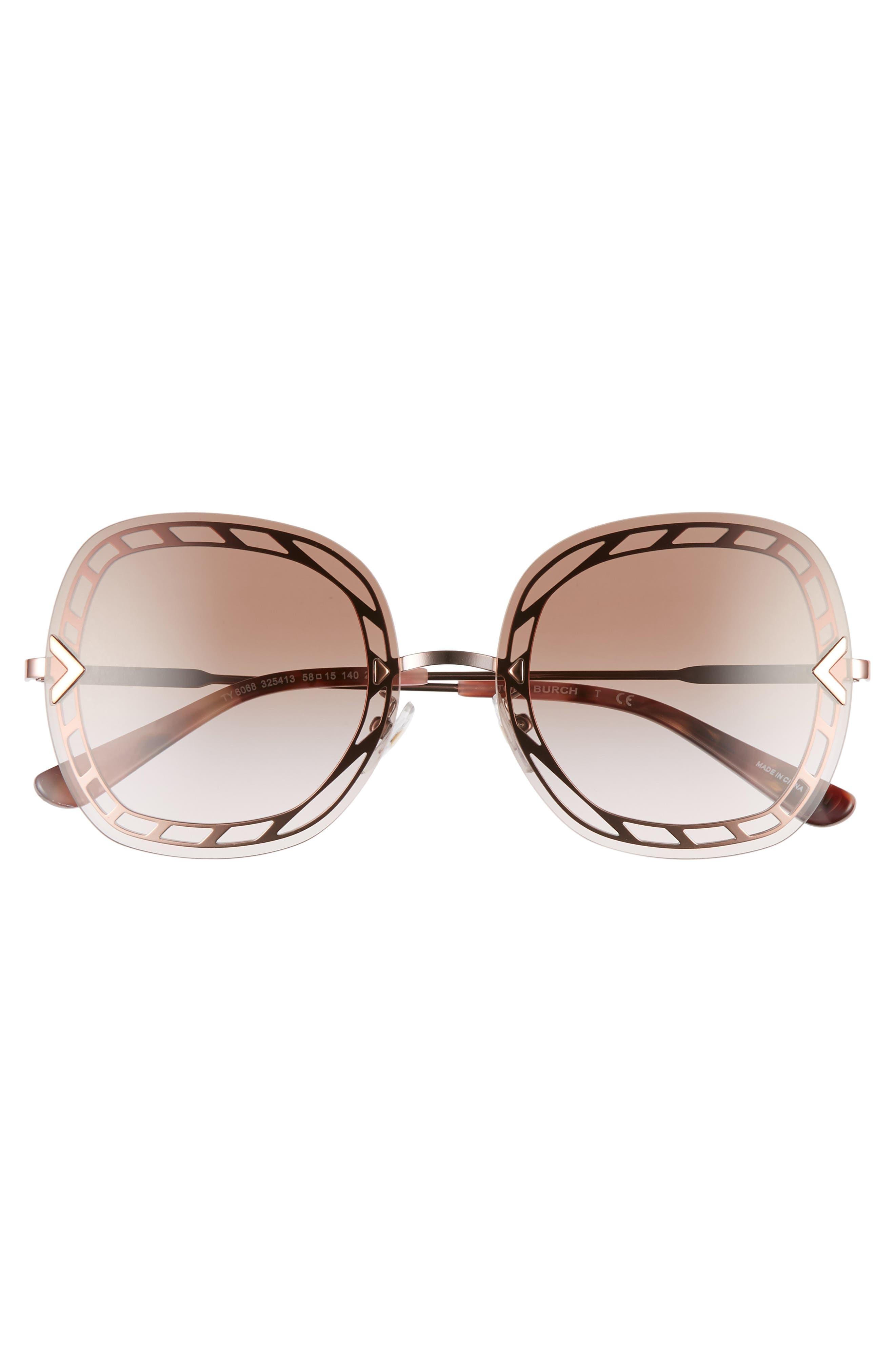 ,                             58mm Gradient Square Sunglasses,                             Alternate thumbnail 12, color,                             711