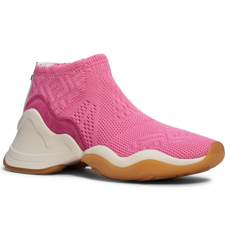 FENDI Technice Knit Mid Top Sneaker, Main, color, PINK/ WHITE