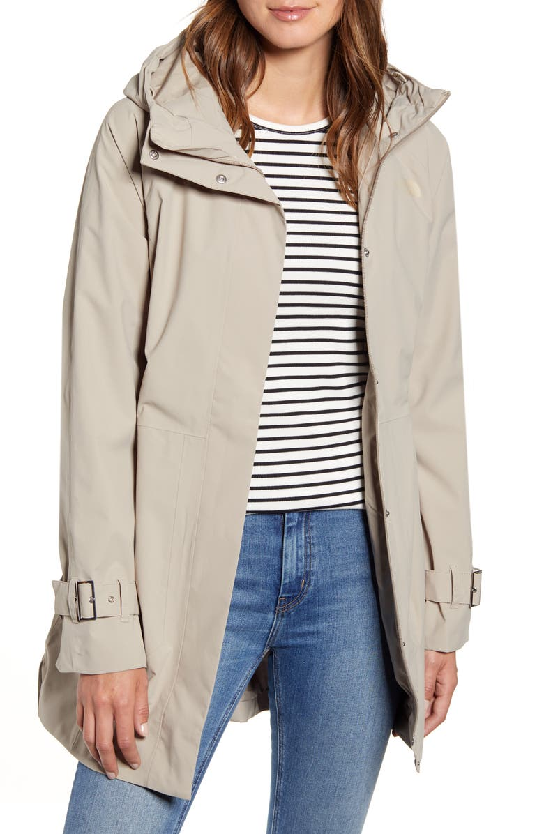 THE NORTH FACE City Breeze Waterproof Trench Raincoat, Main, color, CROCKERY BEIGE