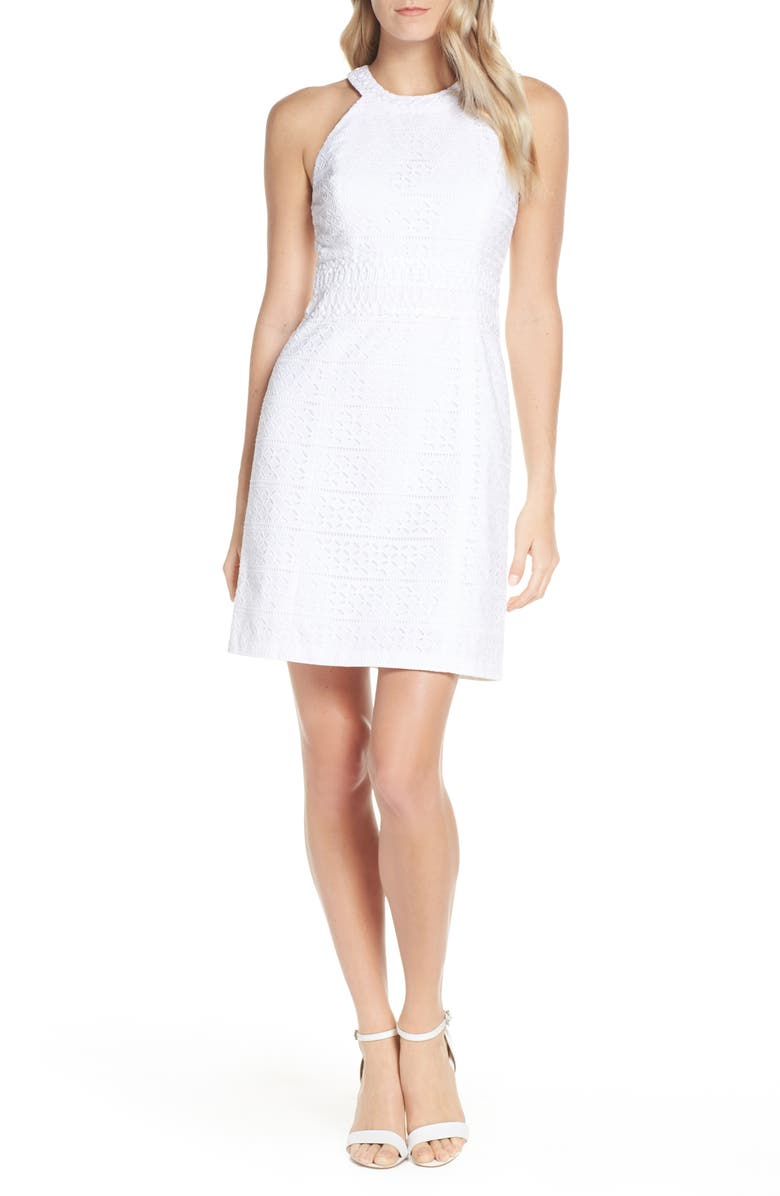 LILLY PULITZER<SUP>®</SUP> Ashlyn Lace Shift Dress, Main, color, RESORT WHITE STRIPED EYELET