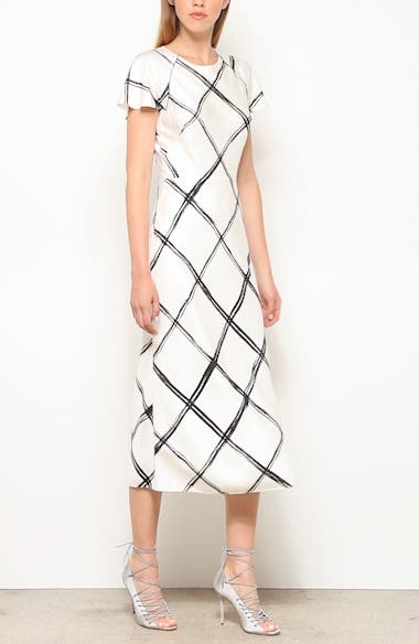 Windowpane Print Silk Crêpe de Chine Midi Dress, video thumbnail