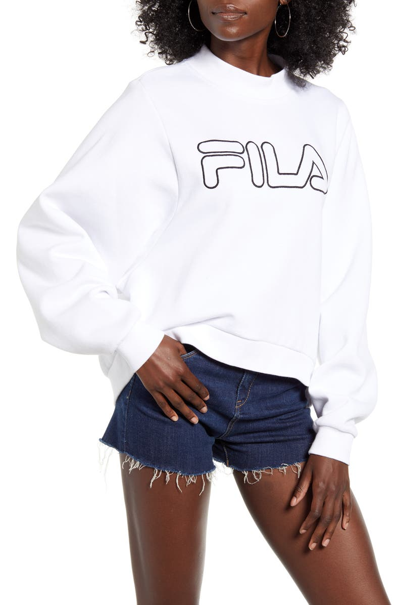 FILA Hanami Logo Sweatshirt, Main, color, WHITE/ BLACK
