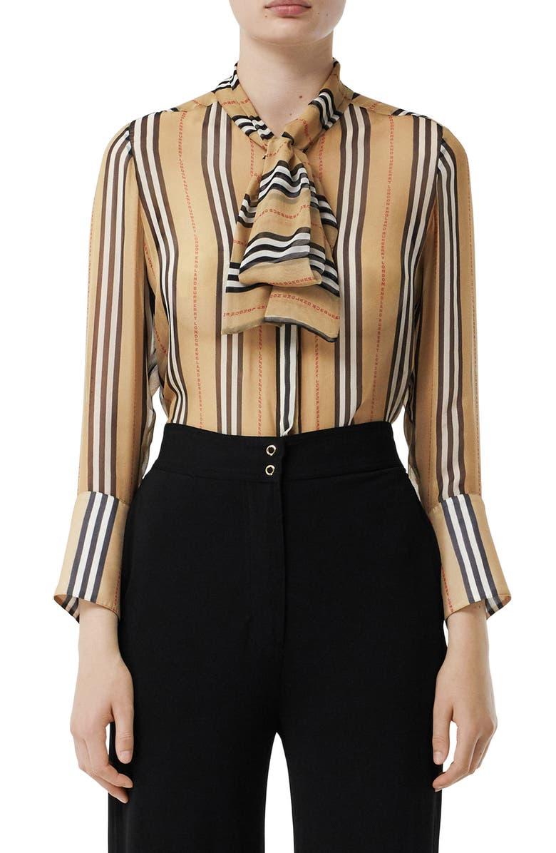 BURBERRY Amelie Tie Neck Icon Stripe Silk Blouse, Main, color, ARCHIVE BEIGE IP PAT