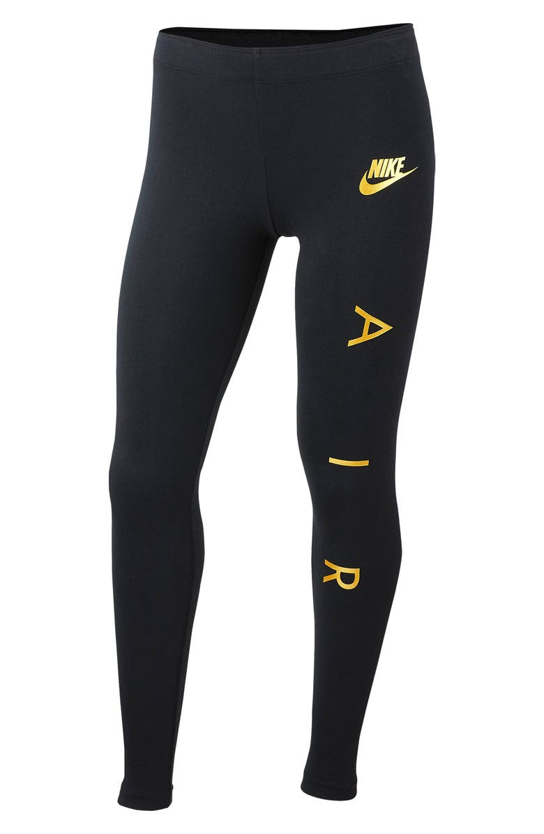 NIKE Air Logo Favorite Leggings, Main, color, BLACK/ METALLIC GOLD
