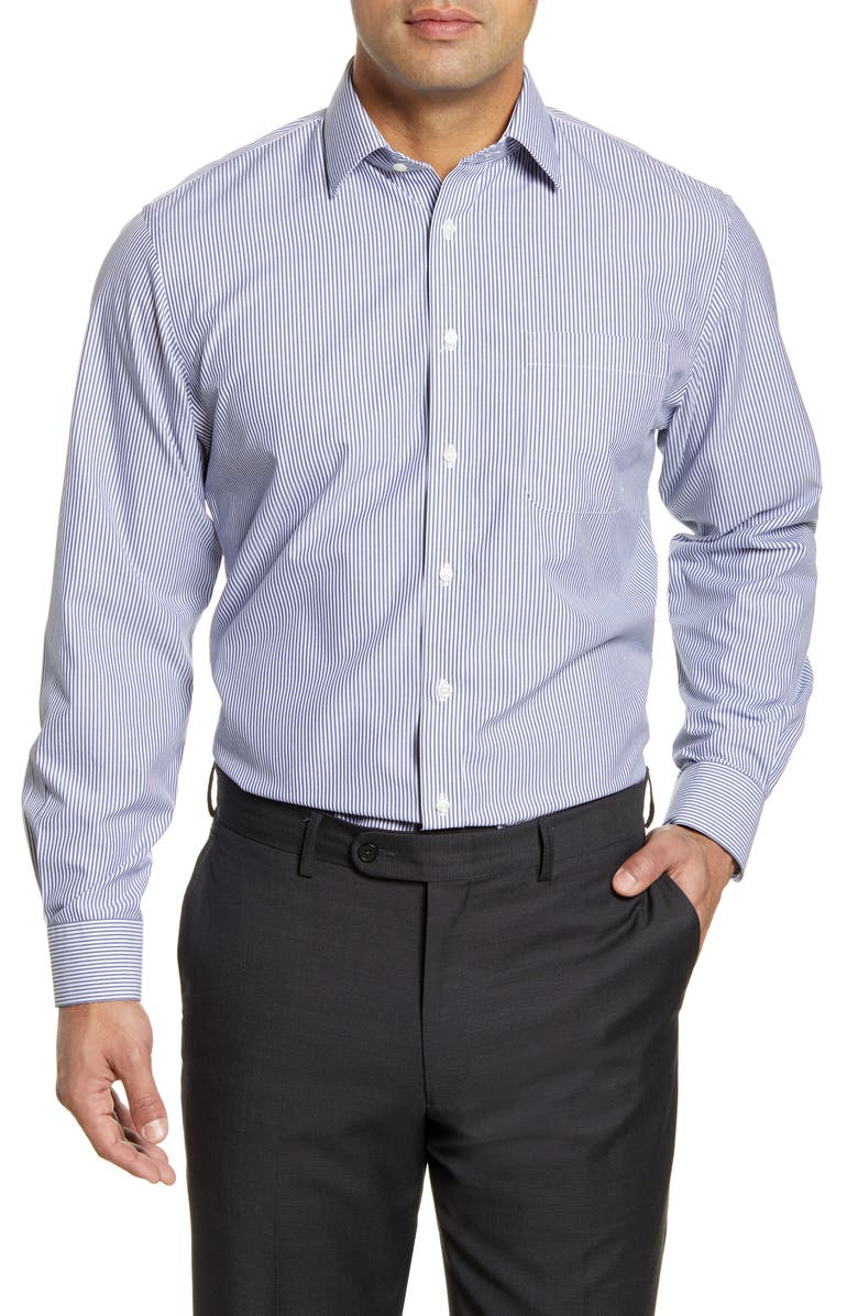NORDSTROM Men's Shop Smartcare Traditional Fit Stripe Dress Shirt, Main, color, BLUE DEPTHS