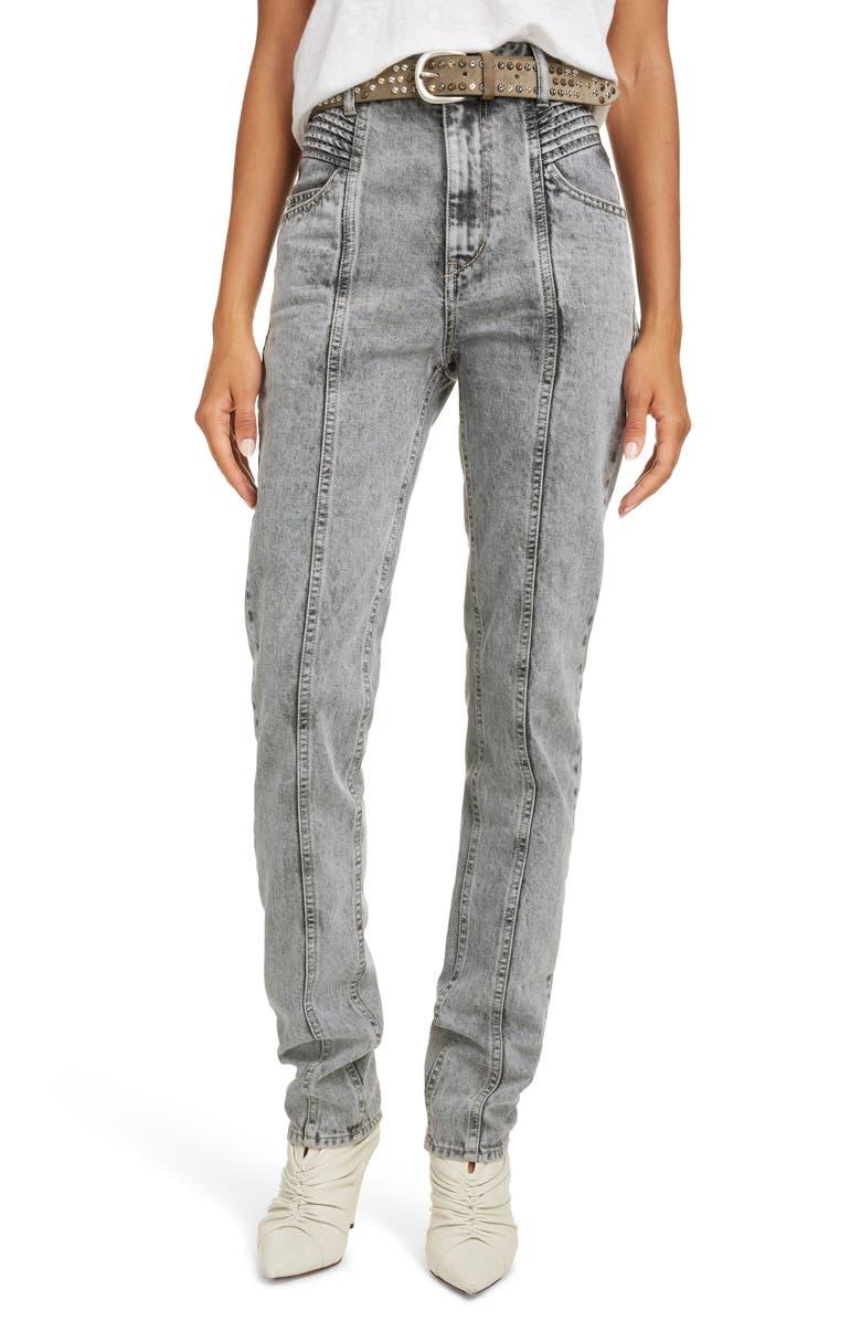 ISABEL MARANT ÉTOILE Hominy Acid Wash High Waist Jeans, Main, color, GREY