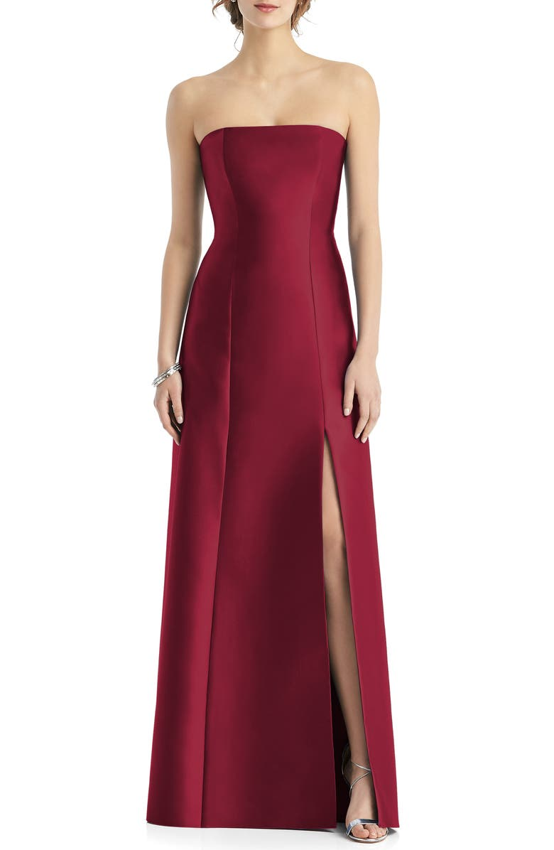 ALFRED SUNG Strapless Side Slit Satin Gown, Main, color, BURGUNDY