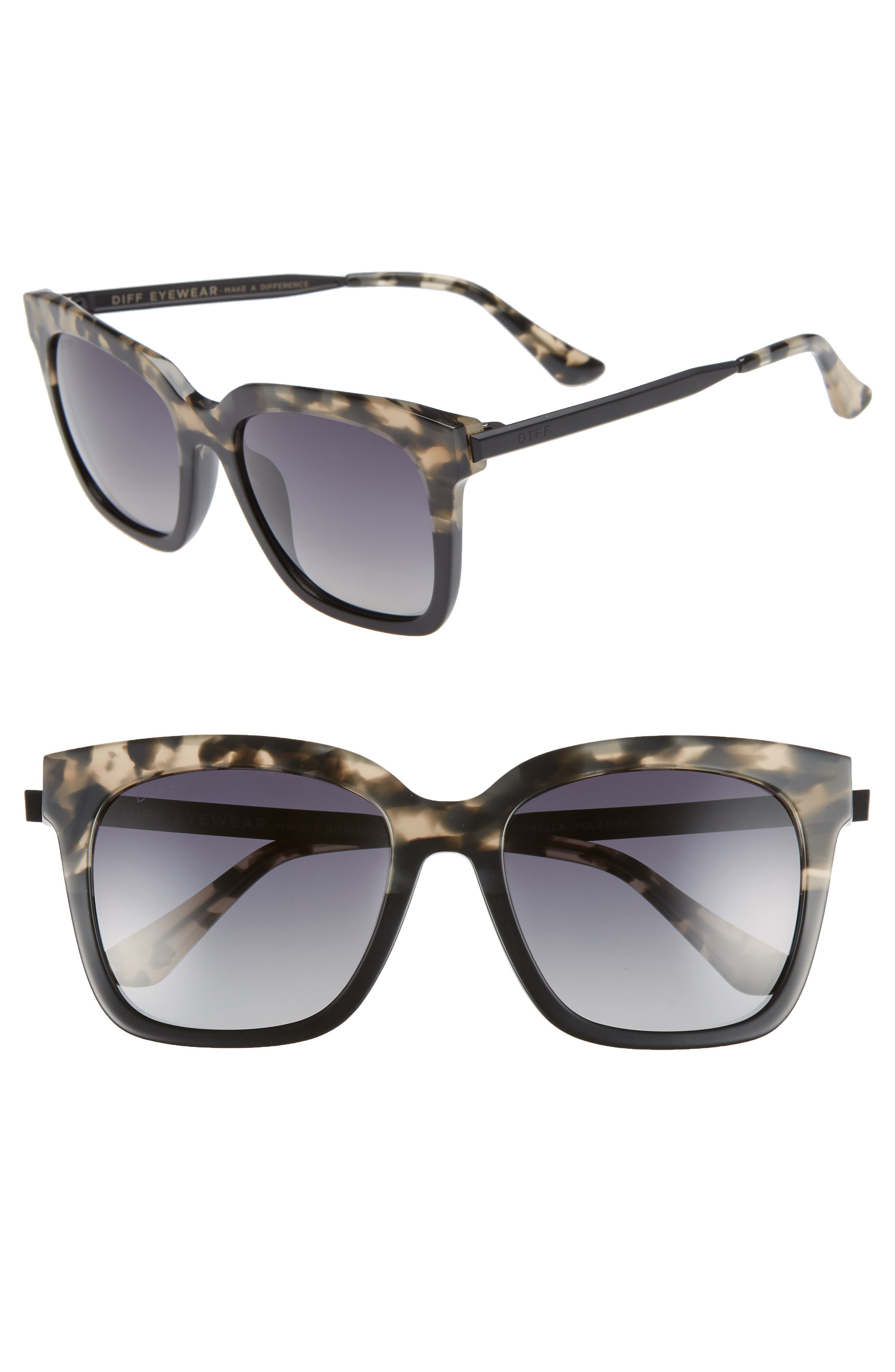 Bella 52mm Polarized Sunglasses, Main, color, GREY FAGE/ GREY