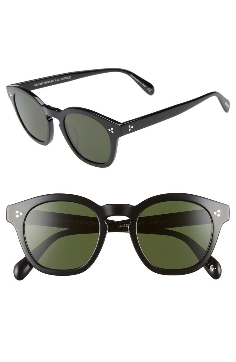 OLIVER PEOPLES Boudreau L.A. 48mm Square Sunglasses, Main, color, BLACK