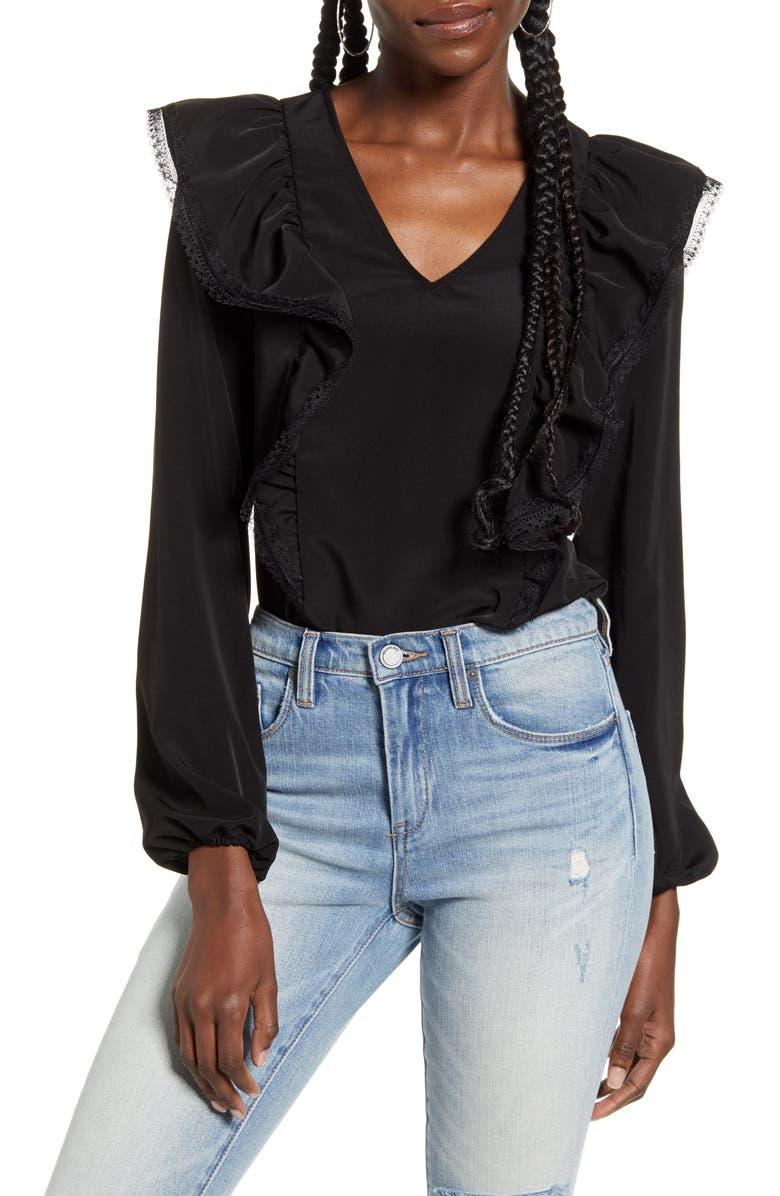 AWARE BY VERO MODA VERO MODA Karma Long Sleeve Blouse, Main, color, BLACK