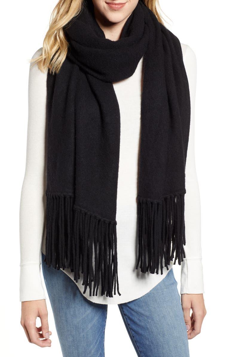 ALLSAINTS Boiled Wool Scarf, Main, color, BLACK