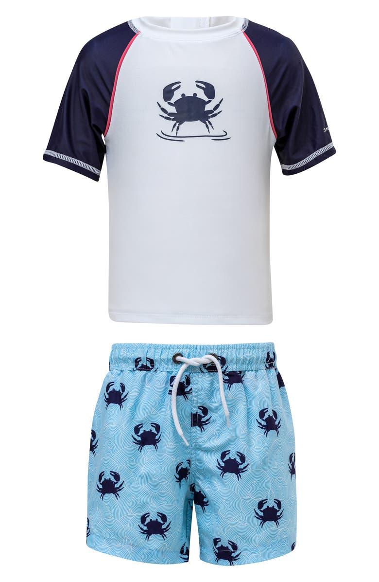 SNAPPER ROCK Crab Two-Piece Rashguard Swimsuit, Main, color, LIGHT BLUE