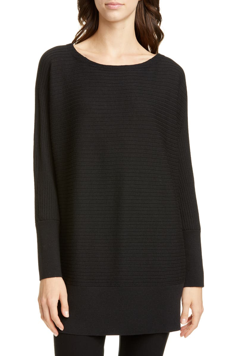 EILEEN FISHER Bateau Neck Wool Tunic, Main, color, 001