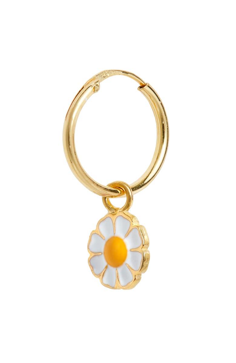 WILHELMINA GARCIA Daisy Hoop Earring, Main, color, GOLD