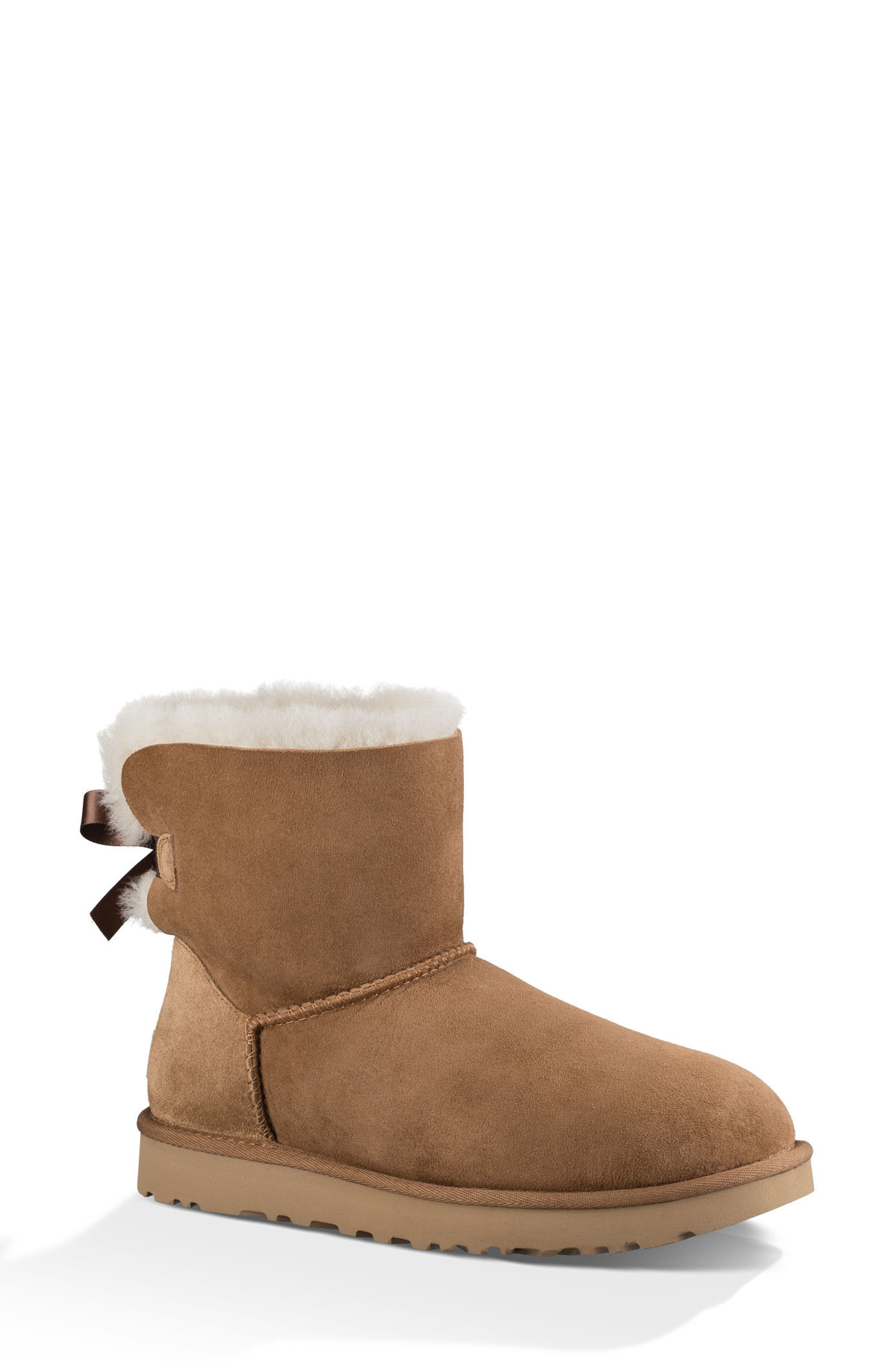 UGG® Mini Bailey Bow II Genuine Shearling Bootie (Women)