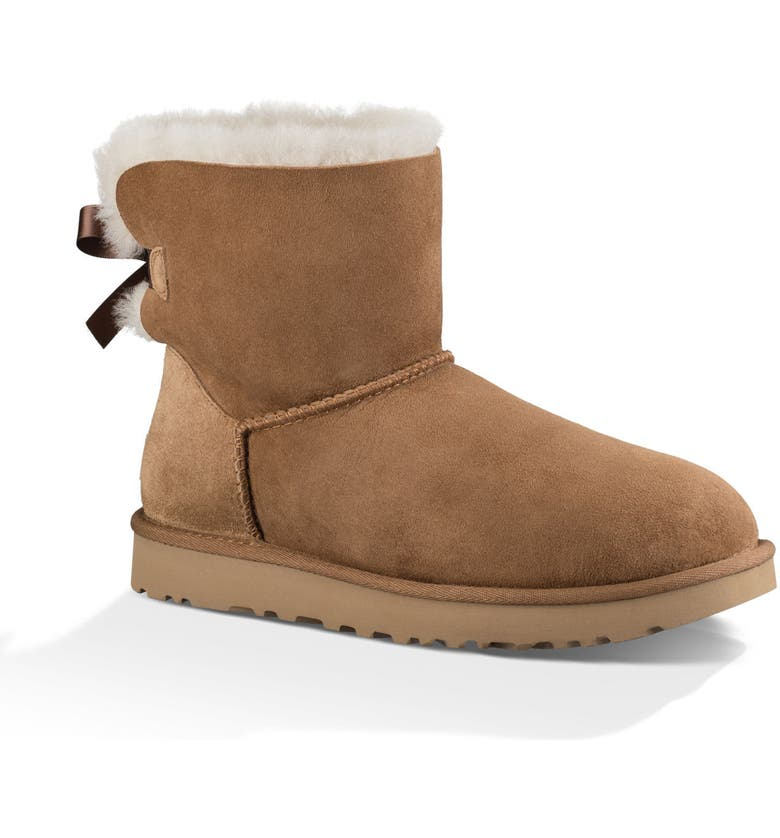 UGG<SUP>®</SUP> Mini Bailey Bow II Genuine Shearling Bootie, Main, color, CHESTNUT SUEDE