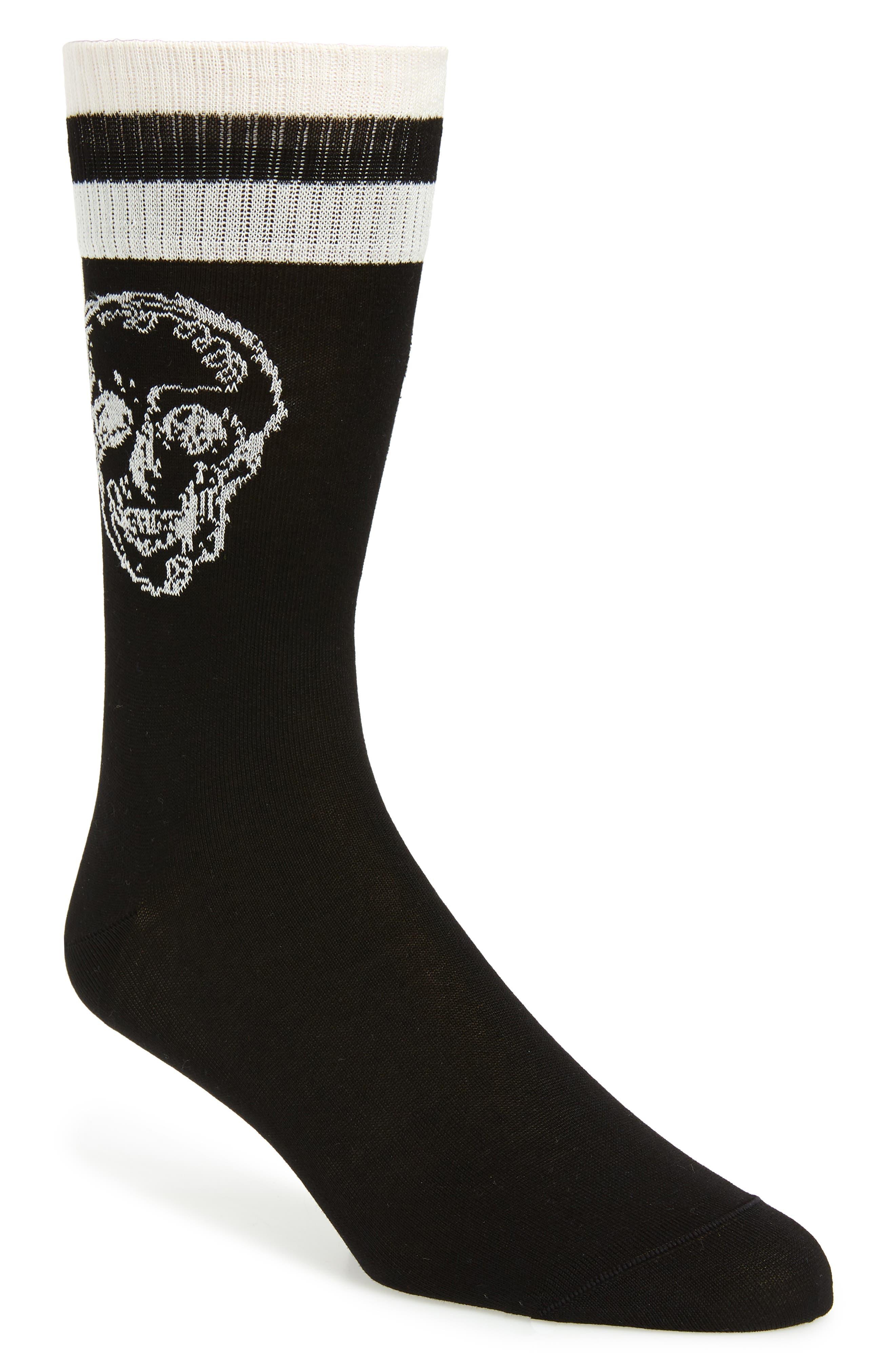 Graffiti Skull Socks, Main, color, BLACK/ IVORY