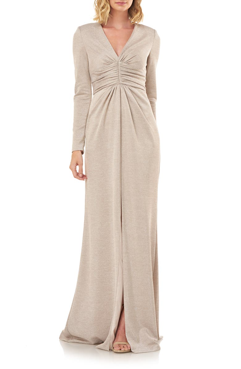 KAY UNGER Kayla Long Sleeve Evening Gown, Main, color, CHAMPAGNE