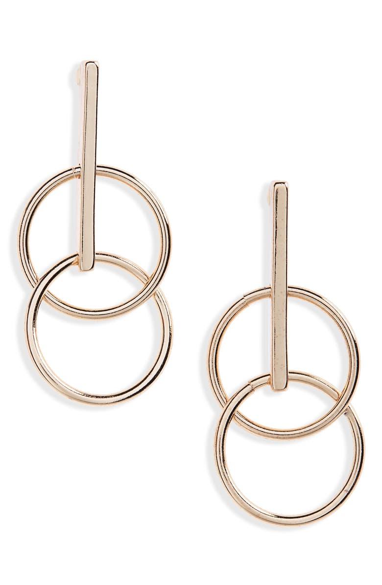 BP. Double Circle Bar Drop Earrings, Main, color, 710