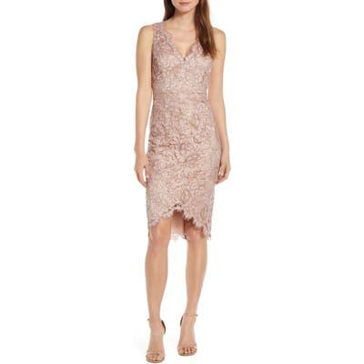 Eliza J Tulip Hem Lace Cocktail Dress, Pink