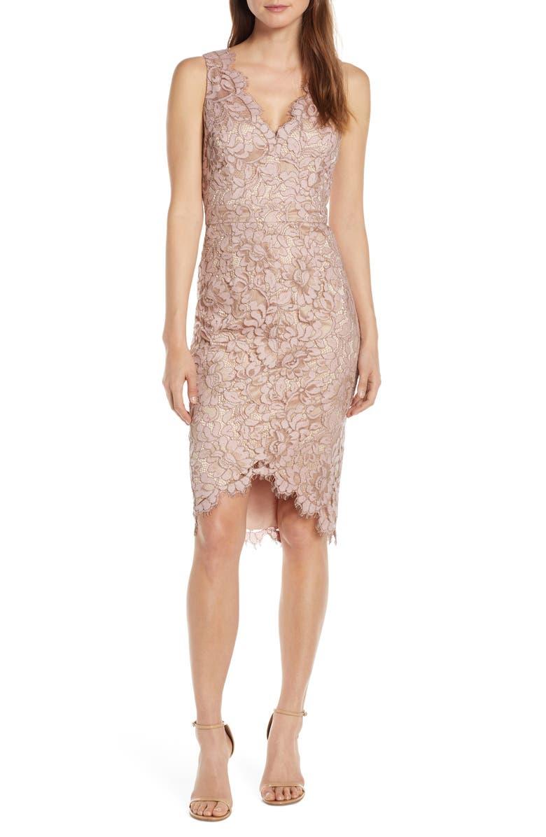 ELIZA J Tulip Hem Lace Cocktail Dress, Main, color, BLUSH
