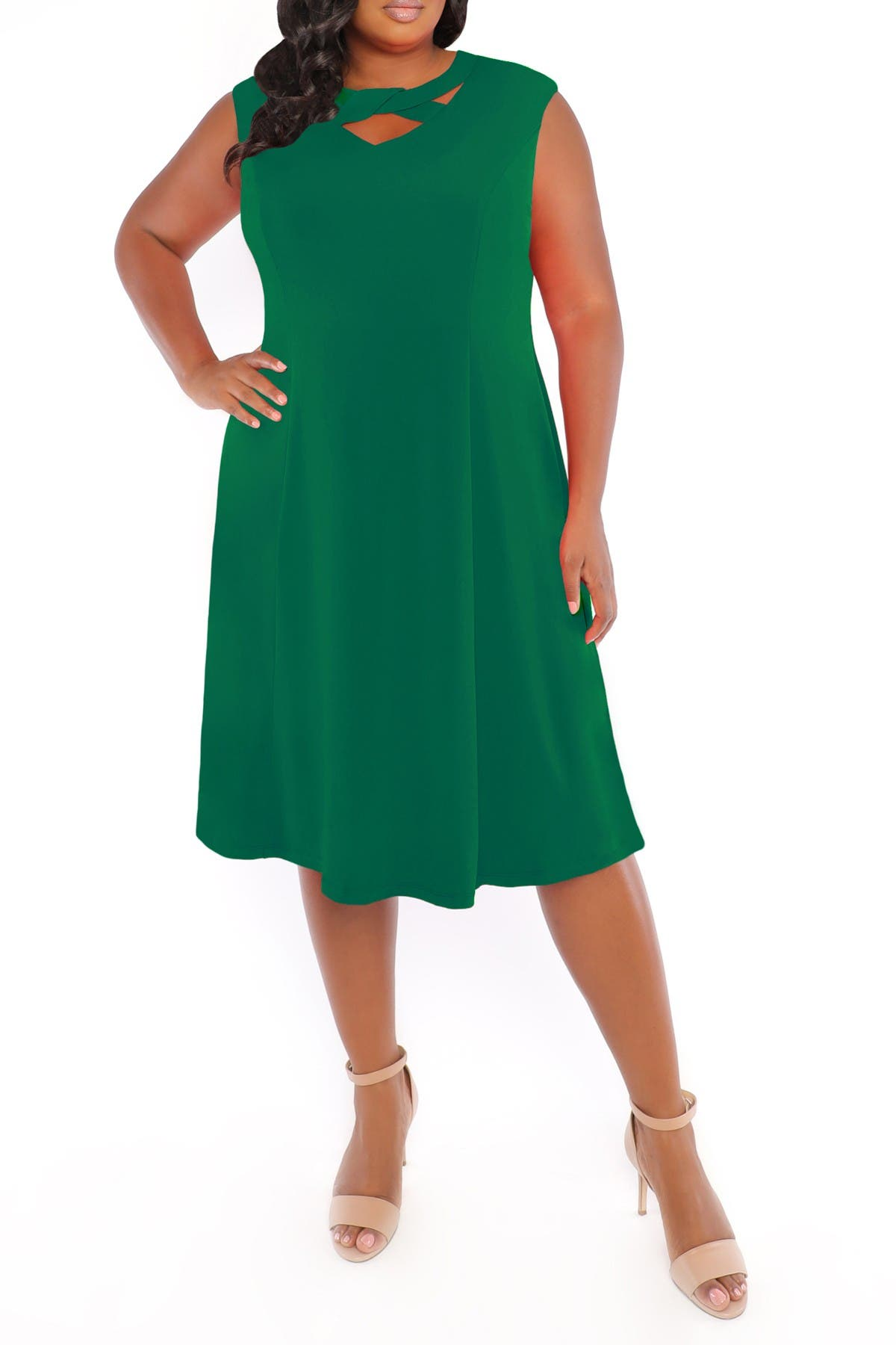 Image of London Times Neck Detail Fit & Flare Dress