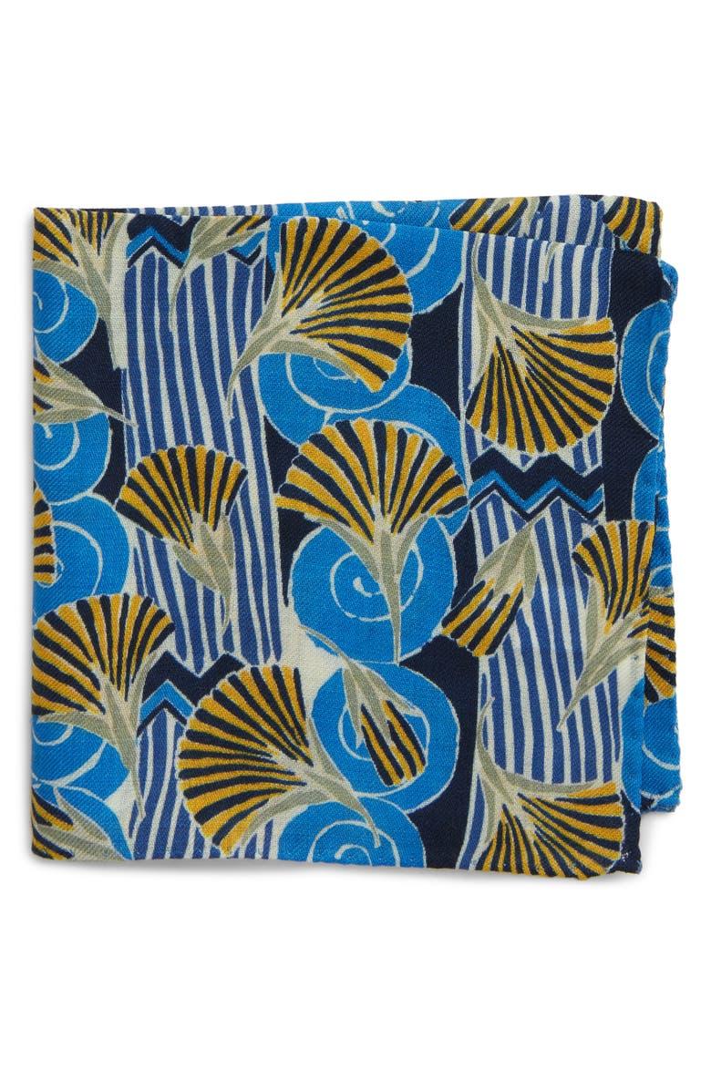 ETON Flower Fan Wool Pocket Square, Main, color, BLUE