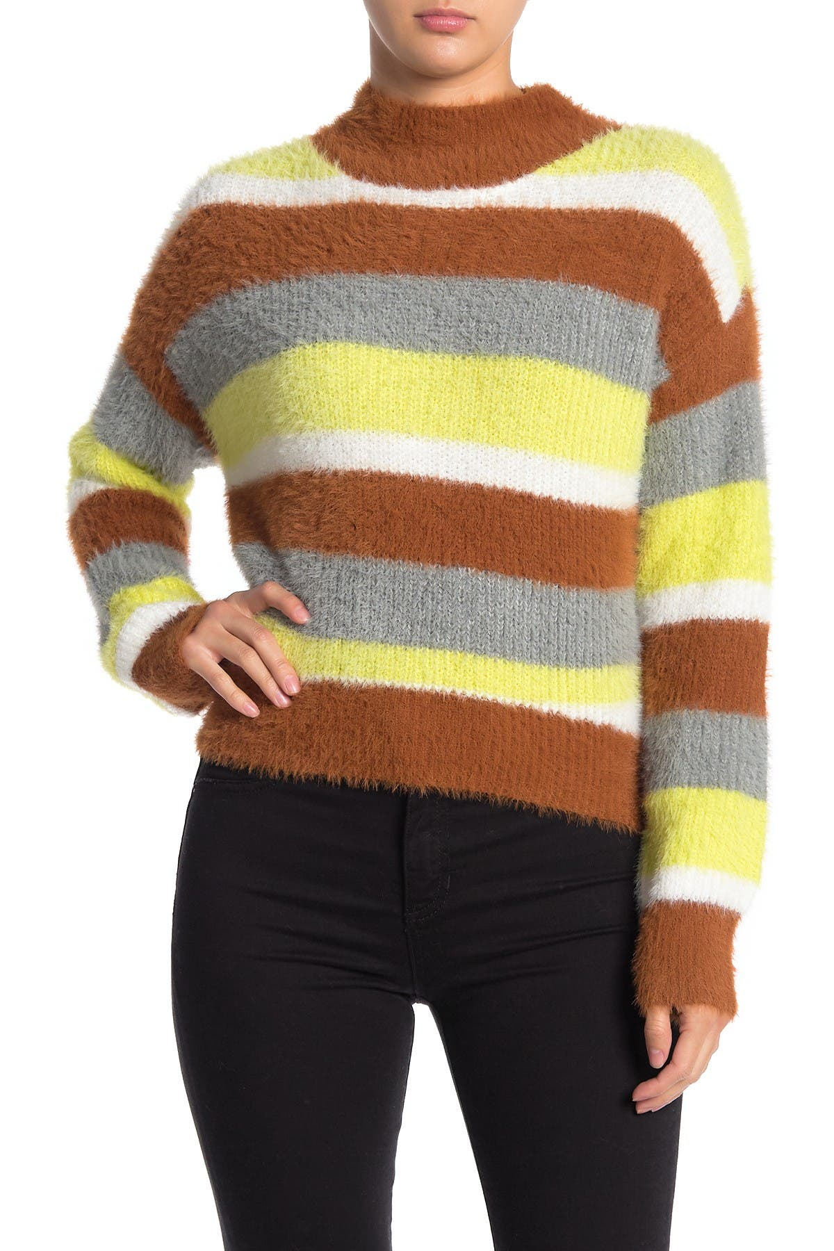 Image of Lush Cozy Striped Knit Sweater