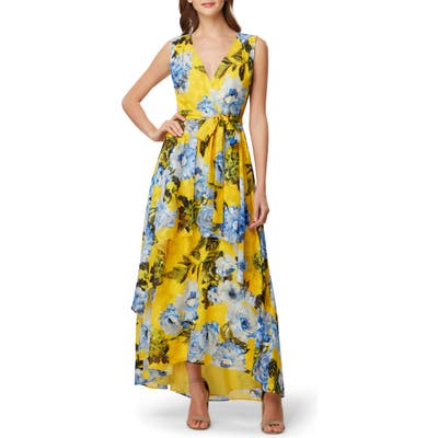 Tahari Print Jacquard Maxi Dress, Yellow