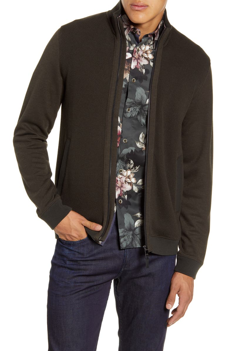 TED BAKER LONDON Spied Funnel Neck Zip Cardigan, Main, color, KHAKI