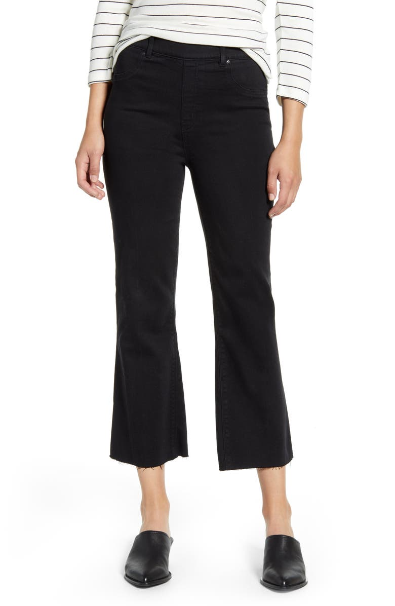 SPANX<SUP>®</SUP> Crop Flare Denim Leggings, Main, color, BLACK