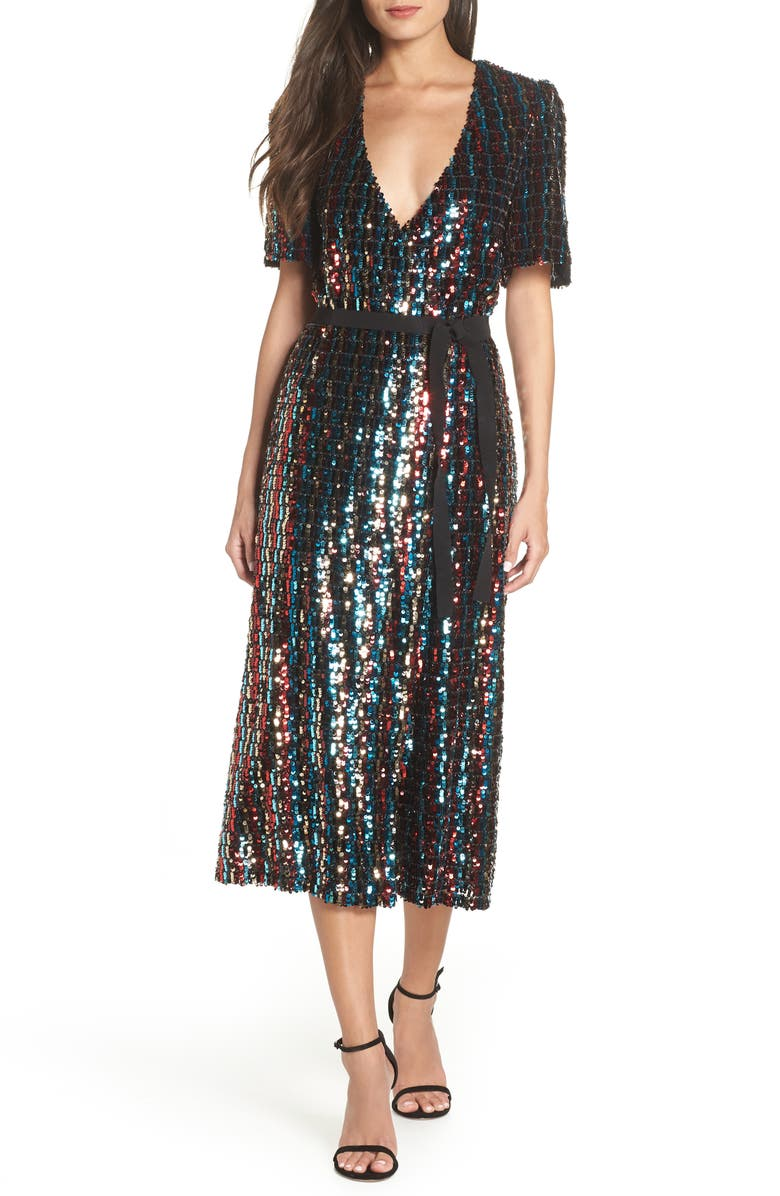 ML MONIQUE LHUILLIER Multicolor Sequin Wrap Dress, Main, color, 640