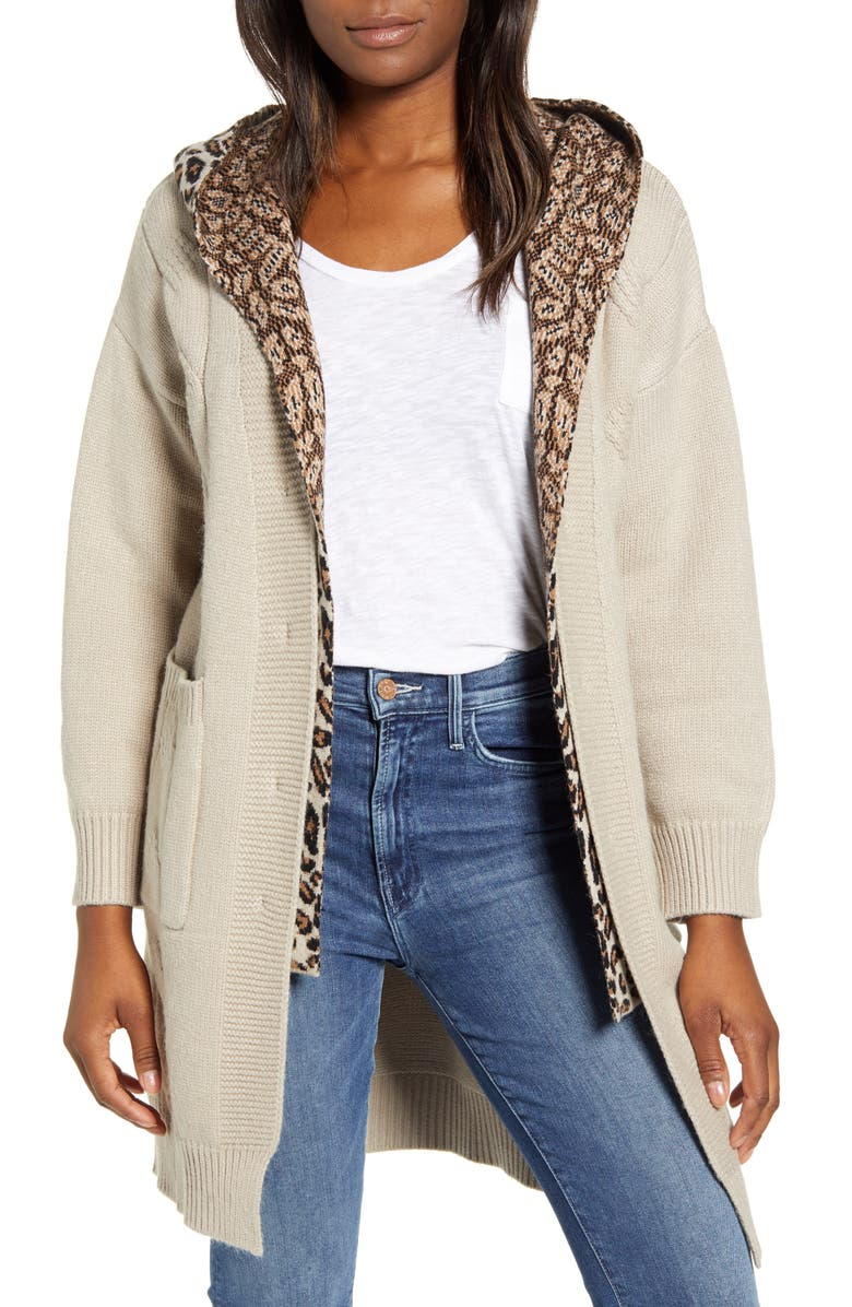 Cable Knit Sweater Coat with Hooded Insert