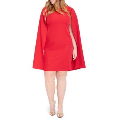 Plus Size Eloquii Cape Dress, Red