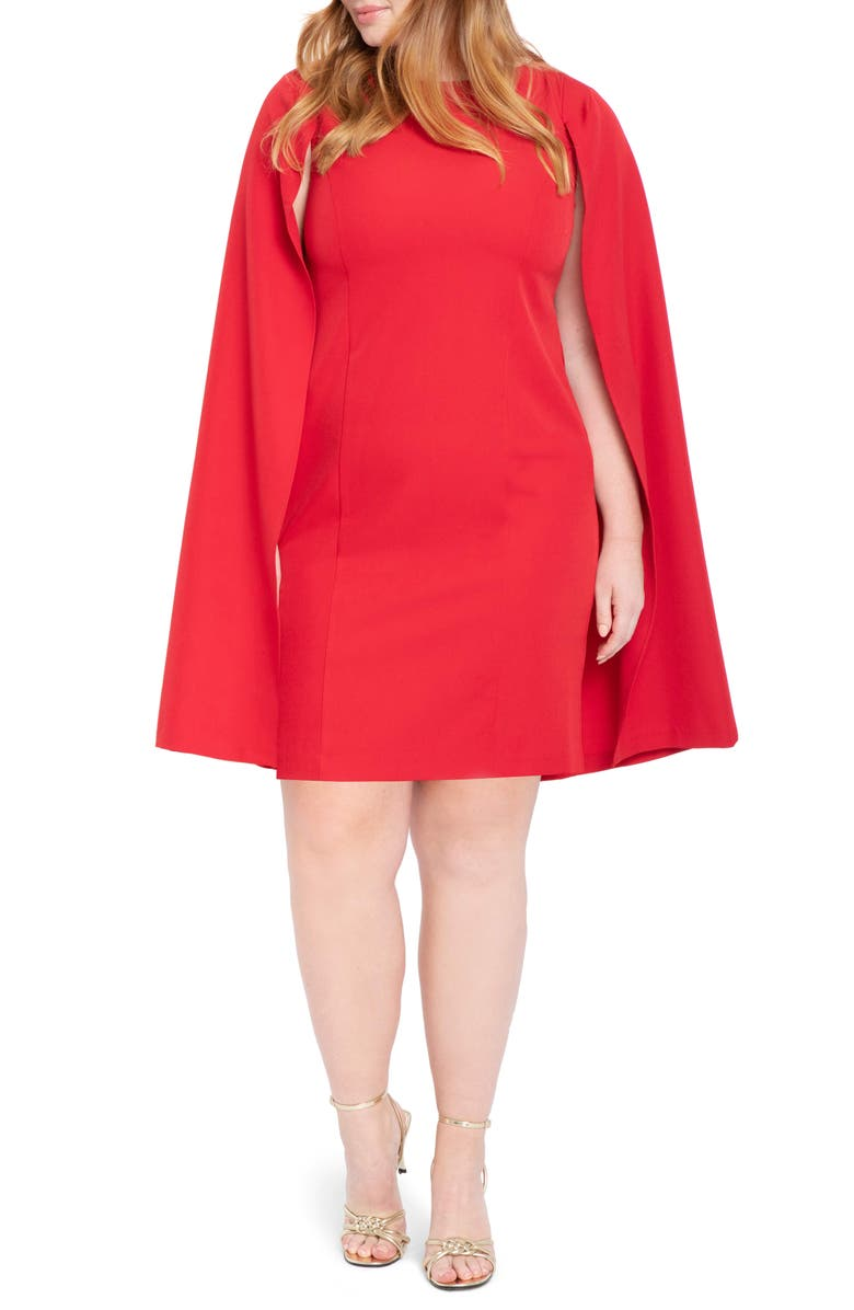 ELOQUII Cape Dress, Main, color, HAUTE RED