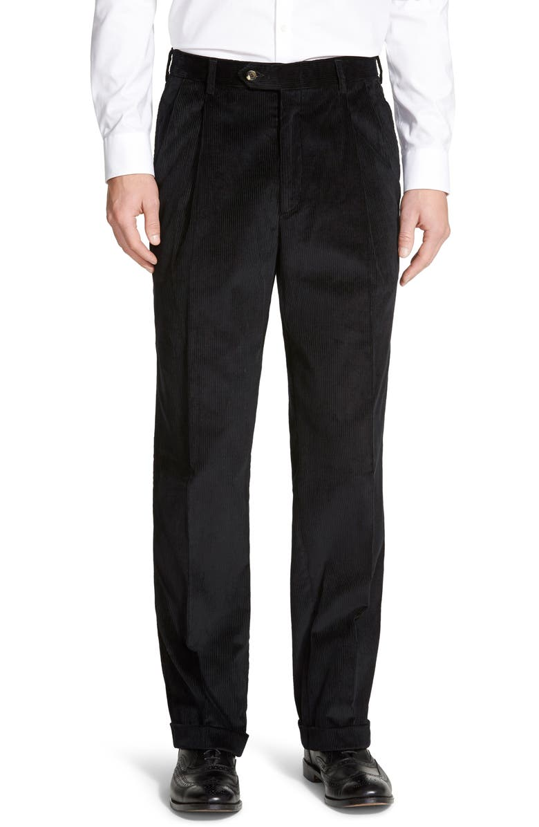 BERLE Pleated Classic Fit Corduroy Trousers, Main, color, BLACK