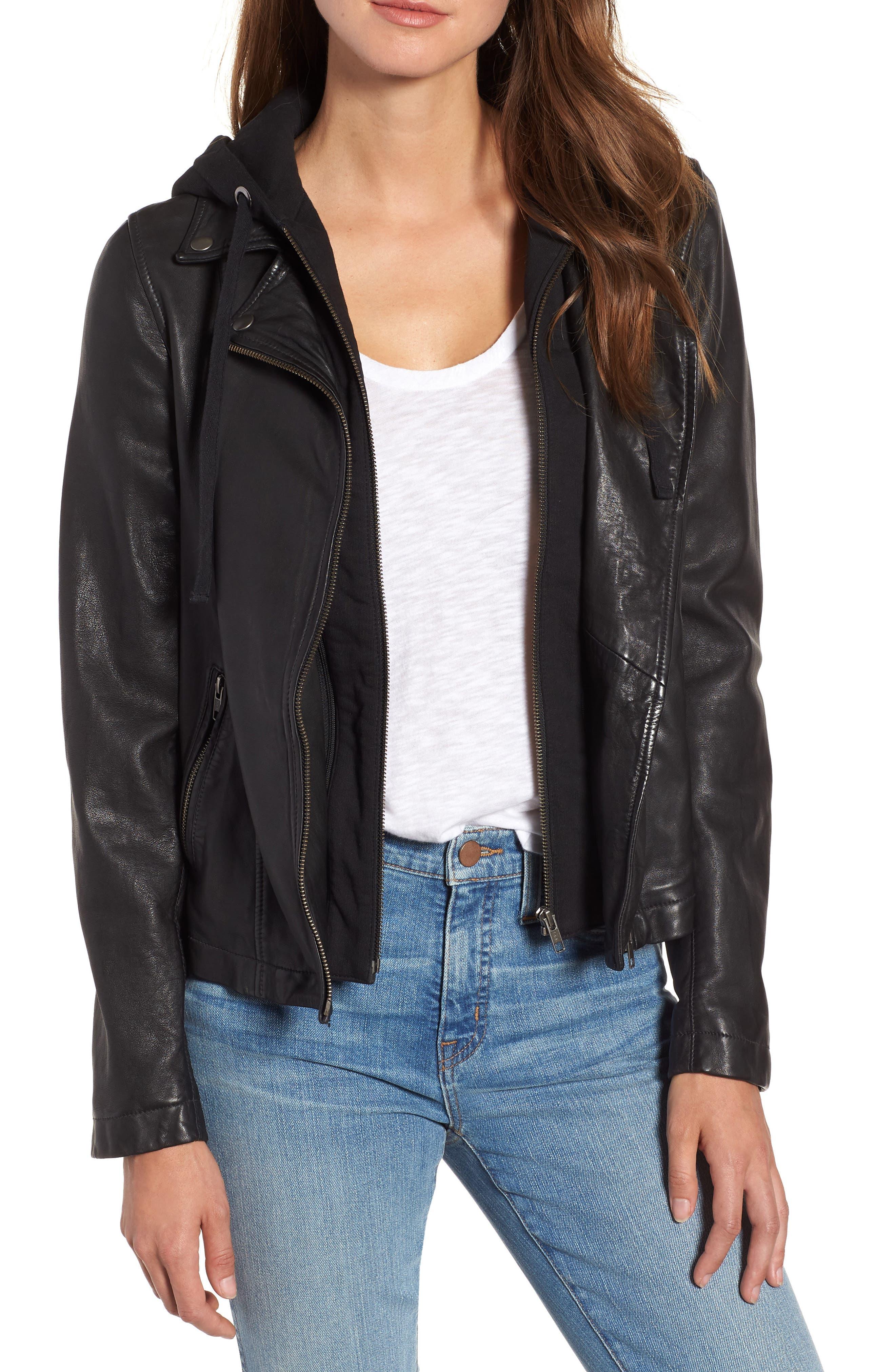 Caslon® Leather Moto Jacket with Removable Hood (Regular & Petite)