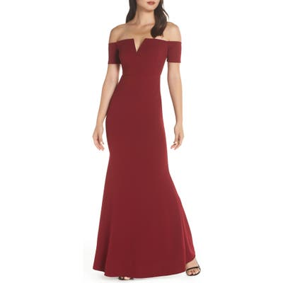 Lulus Lynne Off The Shoulder Gown, Red