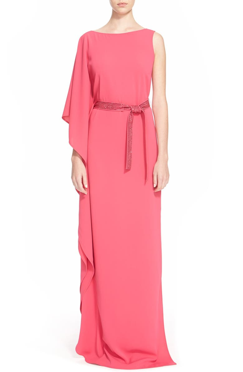 ST. JOHN COLLECTION Asymmetrical CadyGown withSequinBelt, Main, color, 650