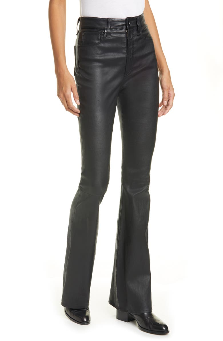 RAG & BONE Jane Super High Waist Leather Flare Pants, Main, color, BLACK