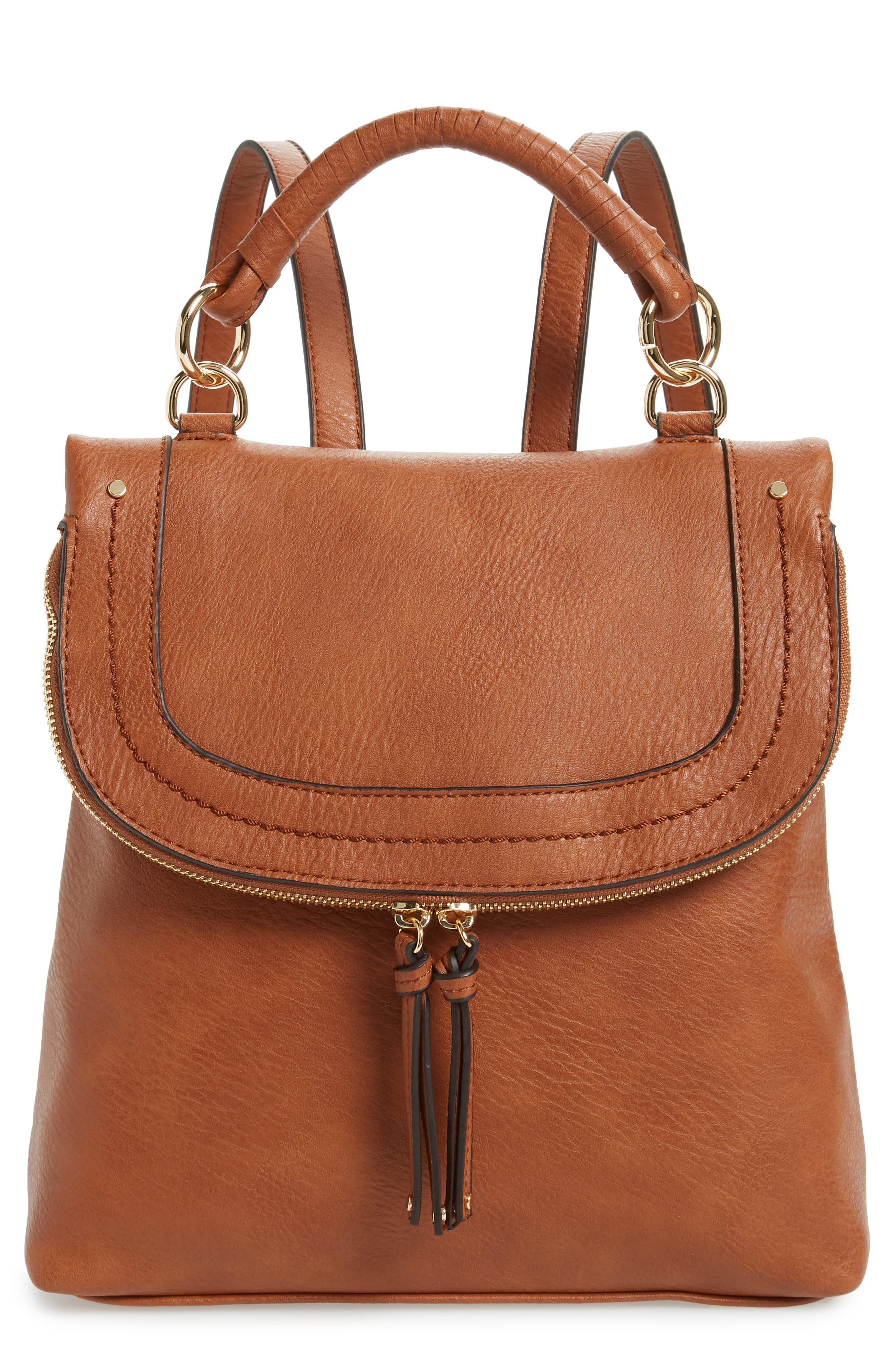 ,                             Rubie Faux Leather Backpack,                             Main thumbnail 1, color,                             COGNAC