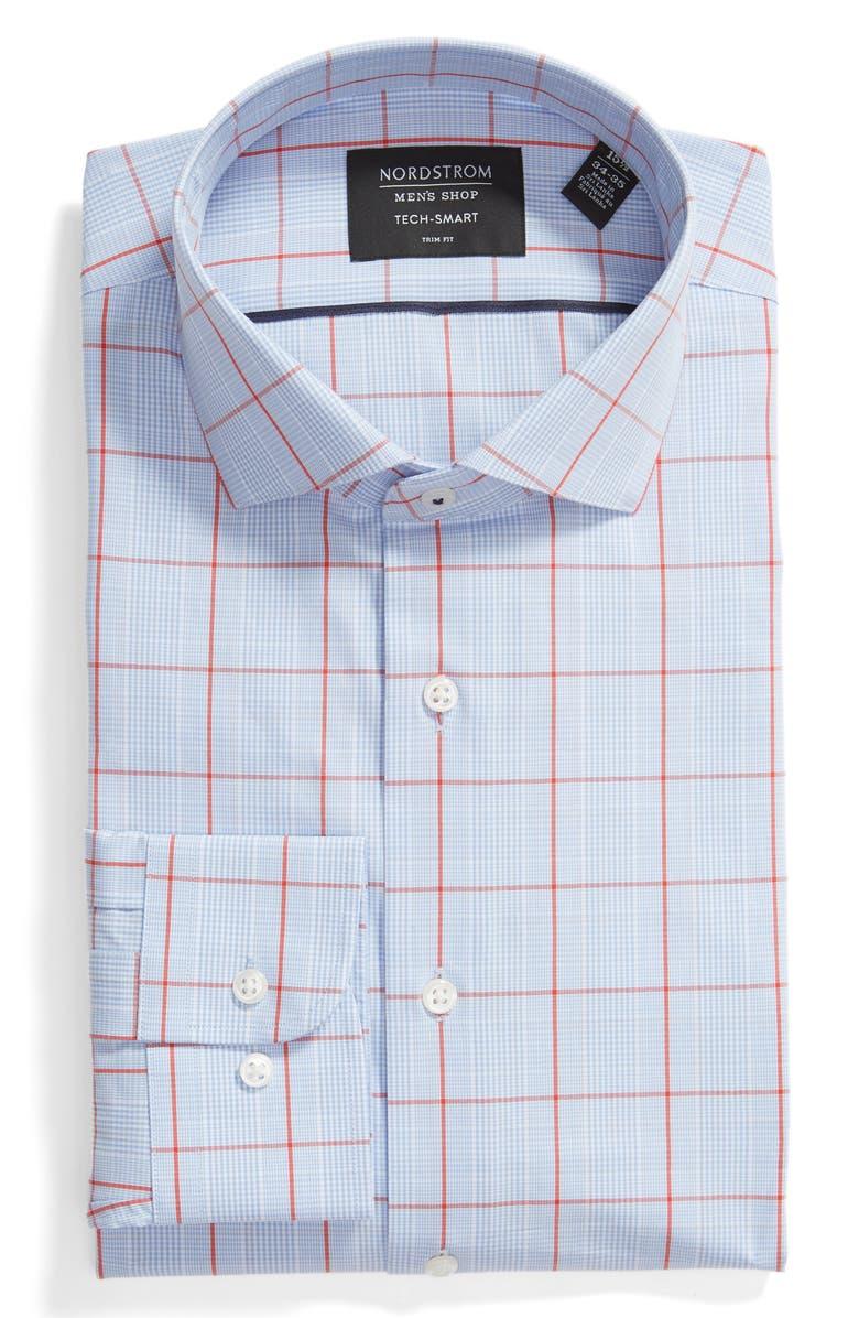 NORDSTROM MEN'S SHOP Tech-Smart Trim Fit Stretch Check Dress Shirt, Main, color, 610