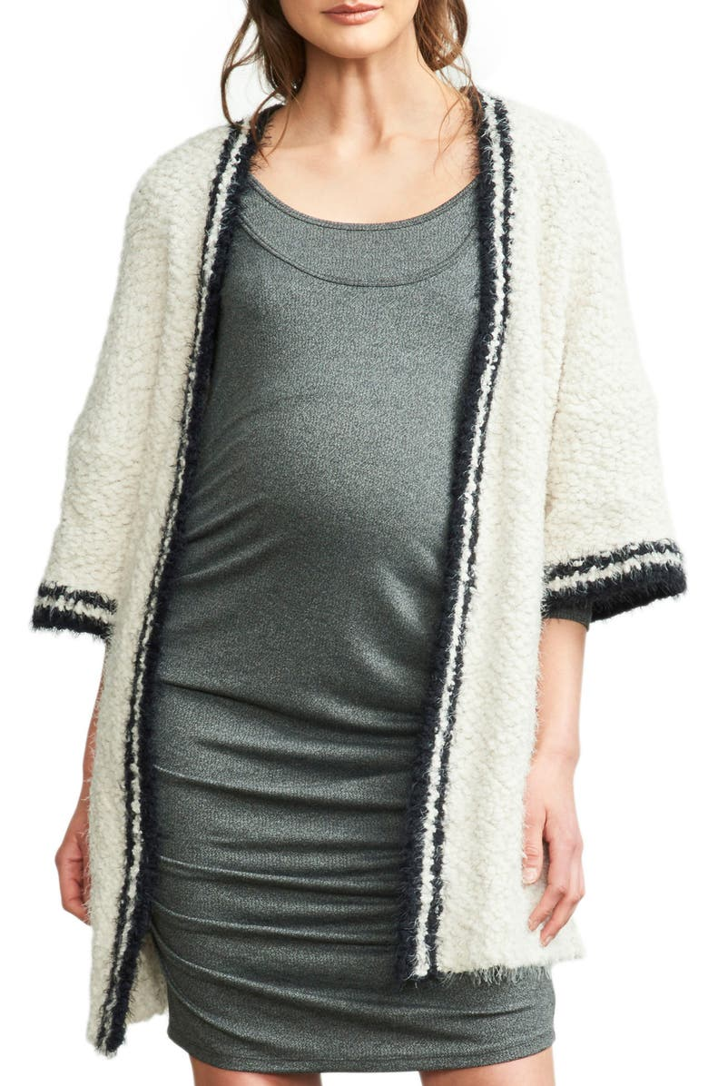 MATERNAL AMERICA Tipped Open Front Maternity Cardigan, Main, color, IVORY