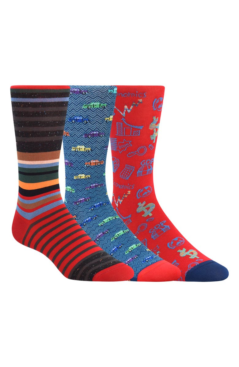 BUGATCHI 3-Pack Sock Gift Set, Main, color, RED