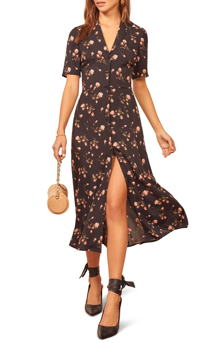 REFORMATION Rocki Floral Print Shirtdress, Main, color, ROMY
